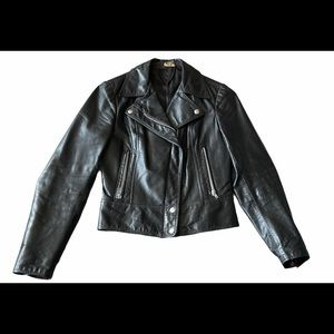 Vintage leather black moto jacket